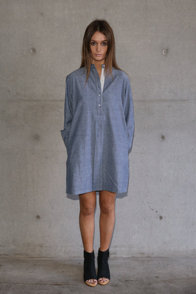 CHAMBRAY COTTON SHIRT DRESS, BLUE - SAAKI