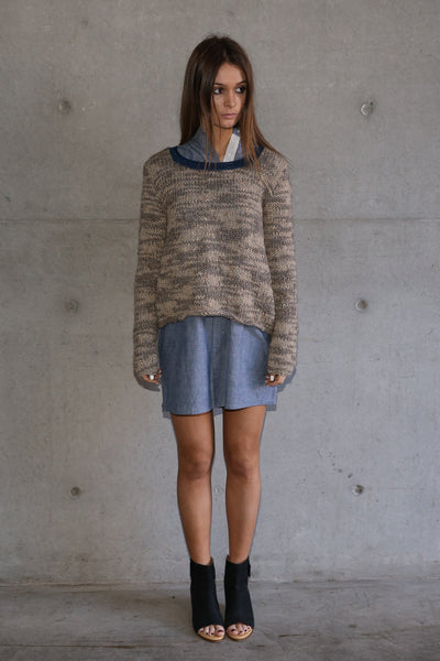 HAND-KNIT CREW NECK SWEATER, ECRU