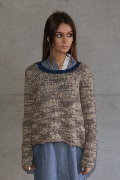 HAND-KNIT CREW NECK SWEATER, ECRU - SAAKI