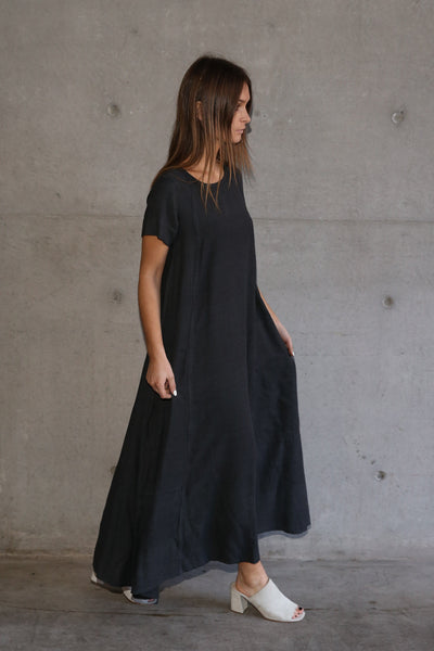 CHRISTINA MAXI DRESS, CHARCOAL COTTON TWILL - SAAKI