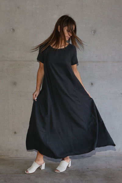 CHRISTINA MAXI DRESS, CHARCOAL COTTON TWILL