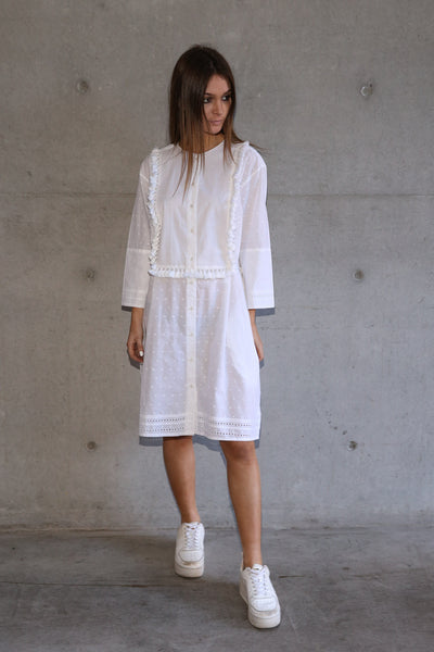 COACHELLA SHIRT-DRESS, WHITE COTTON - SAAKI