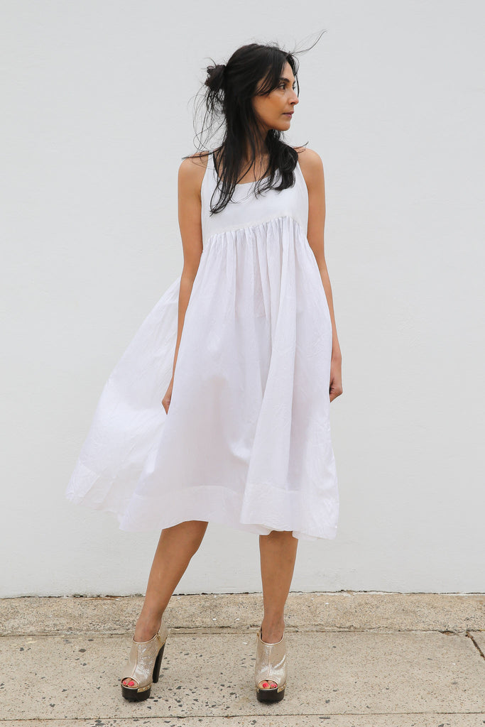 PLEATED SILK CHEMISE DRESS, WHITE SHEER - SAAKI