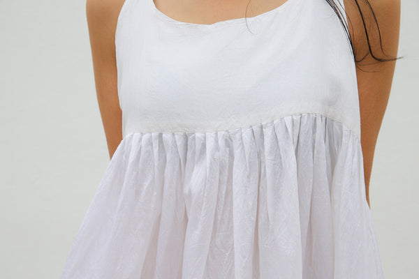 PLEATED SILK CHEMISE DRESS, WHITE SHEER