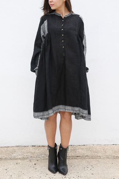 RANGREZ SILK SHIRT DRESS, BLACK HANDWOVEN - SAAKI