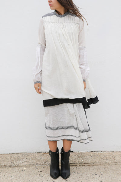 CHECK SHIRT DRESS, IVORY/BLACK HANDWOVEN - SAAKI