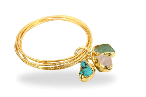 ROSE QUARTZ, FLUORITE & TURQUOISE DROP BANGLE - SAAKI