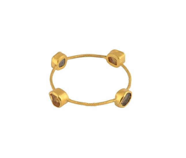 STACK ME UP SMOKY TOPAZ & CITRINE BANGLE - SAAKI
