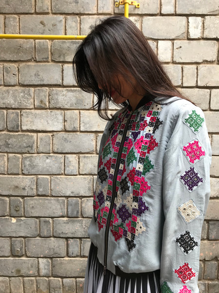 VINTAGE EMBROIDERY BOMBER, BLUE GREY SILK - SAAKI