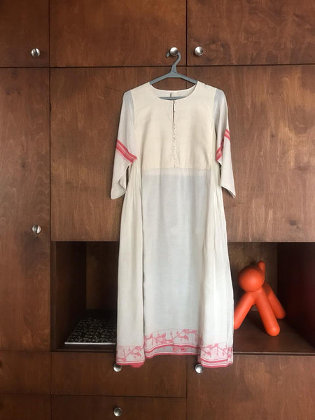 JAMDANI DRESS, RED STRIPE // IVORY - SAAKI