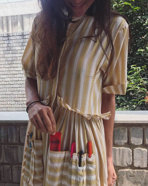 ART POCKET DRESS, YELLOW STRIPE - SAAKI