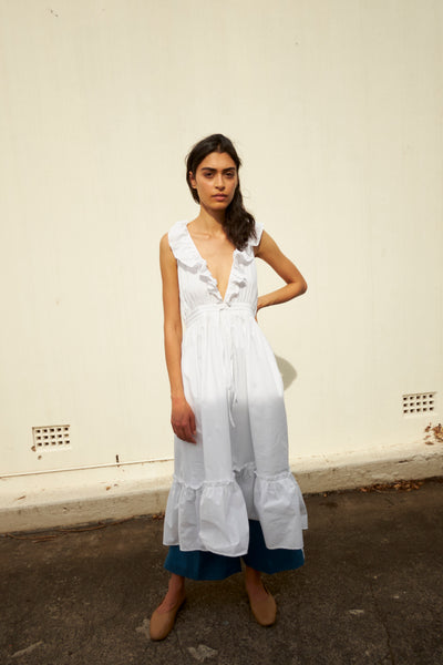 THE AVA DRESS, COTTON POPLIN WHITE