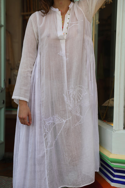 CHIKAN EMBROIDERY DRESS, WHITE // WHITE