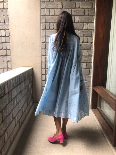 JAMDANI CIRCLE SHIRT DRESS, LIGHT BLUE - SAAKI