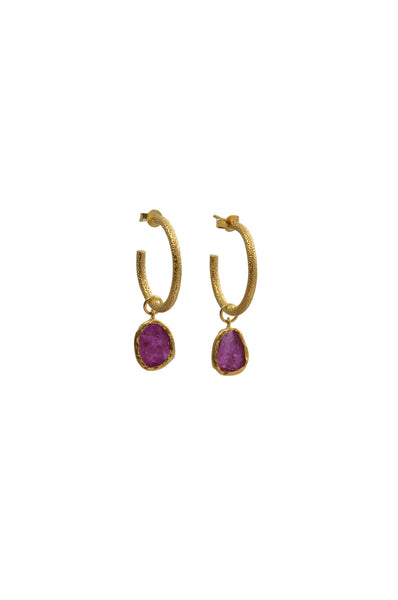 RUBY HOOP EARRINGS - SAAKI