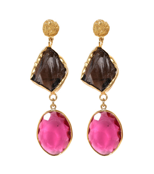 TOPAZ & PINK QUARTZ DROP EARRING - SAAKI