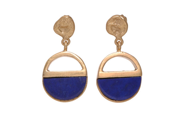 HALF STONE DROP EARRINGS - SAAKI