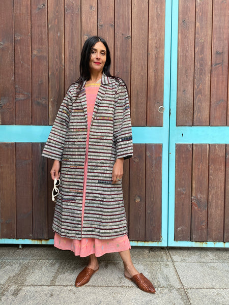 PLEATED COAT, WHITE // GREY STRIPE - SAAKI
