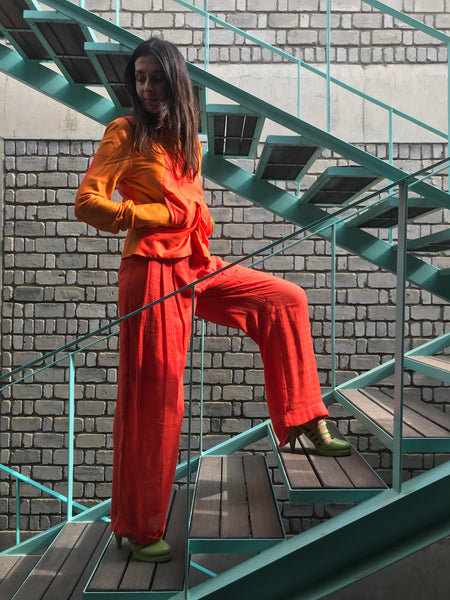 WIDE LEG DRAWSTRING PANT, ORANGE TENCEL - SAAKI