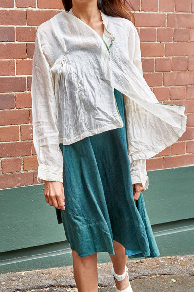 KORA RUFFLED BLOUSE, IVORY SHEER - SAAKI