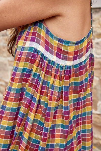 CHECKED MAXI DRESS, VIOLET/YELLOW - SAAKI