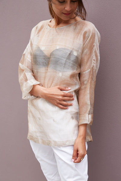 HAND WOVEN OVERSIZED BLOUSE, SHEER GREY POLKA DOT - SAAKI