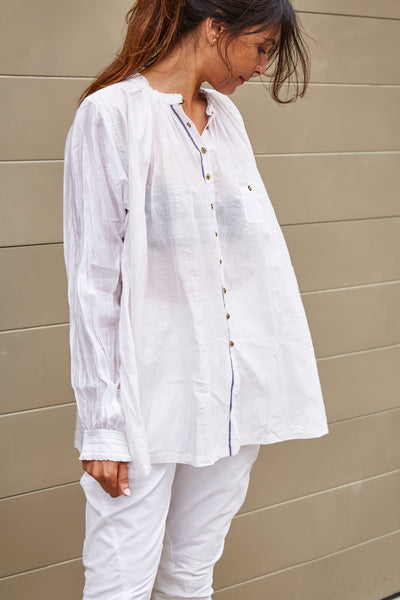 KORA RUFFLED SHIRT, WHITE SHEER - SAAKI