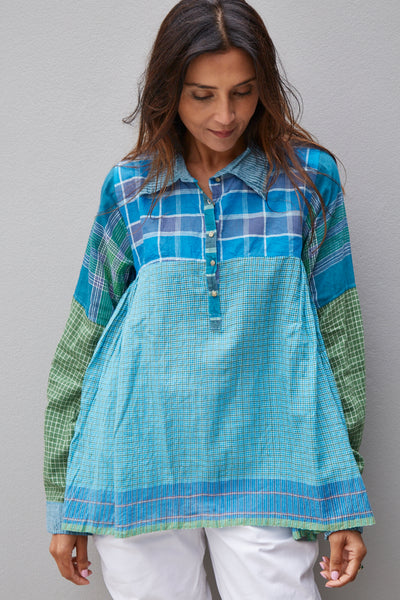 GINGHAM SHIRT, GREEN // BLUE - SAAKI