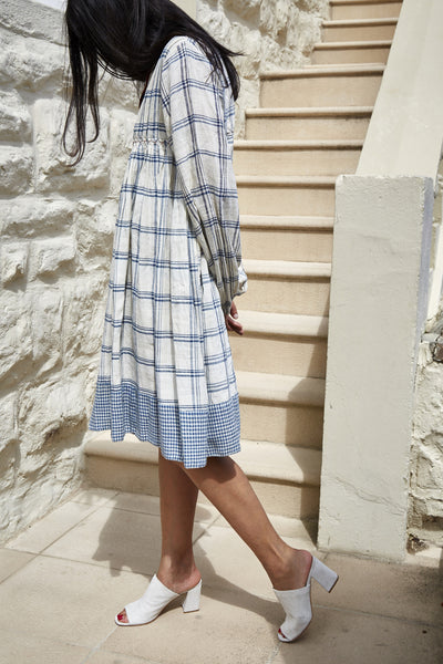 KINARI CHECK JACKET DRESS, CREAM & INDIGO - SAAKI