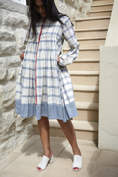 KINARI CHECK JACKET DRESS, CREAM & INDIGO
