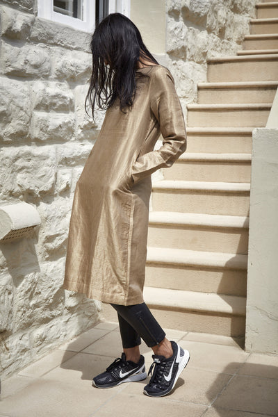 HAND WOVEN SILK, COTTON & ZARI OVERSIZED TUNIC DRESS, GOLD - SAAKI
