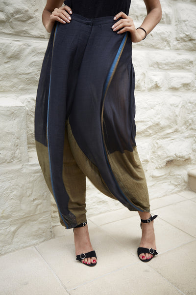HAND WOVEN SILK & COTTON DHOTI PANTS, BLACK & OCHRE - SAAKI