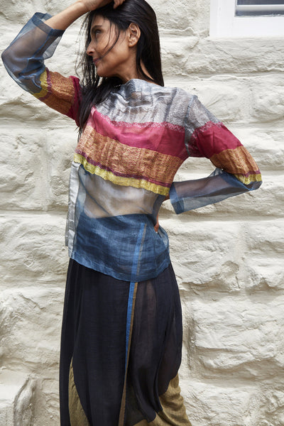 HAND WOVEN STRIPE SHEER TOP, STEEL - SAAKI