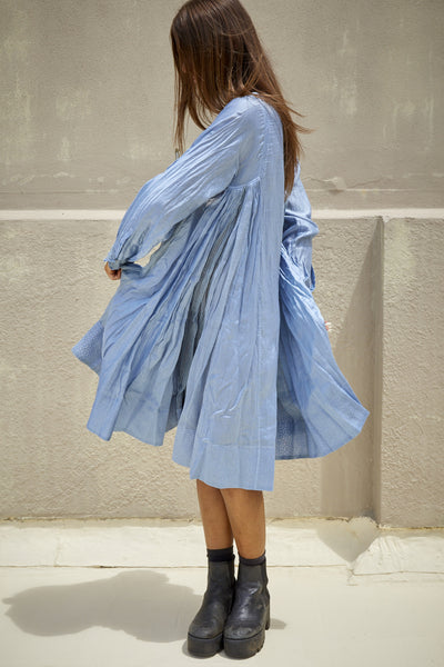 RANGREZ SILK SHIRT DRESS, SKY BLUE - SAAKI