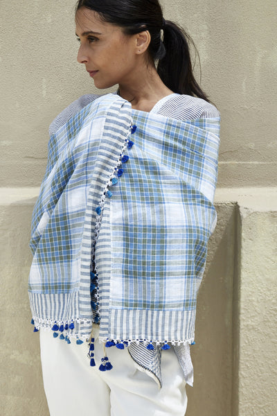 TASSEL POMPOM SCARF, WHITE BLUE GREEN MADRAS CHECK - SAAKI