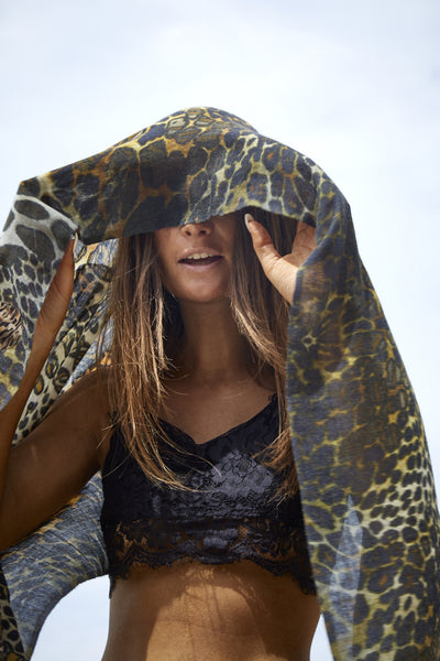 MERINO WOOL & SILK BLEND STOLE, ANIMAL PRINT - SAAKI