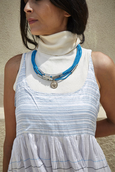 HAND WOVEN COIN NECKPIECE, TURQUOISE, ANTIQUE SILVER & STAINLESS STEEL - SAAKI