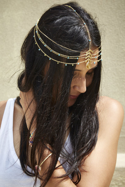 LAYERED HEADPIECE WITH FACETED CITRINE, PERIDOT & TURQUOISE BEADS - SAAKI