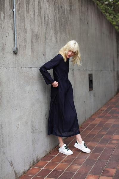 PINTUCK DRESS, NAVY COTTON - SAAKI