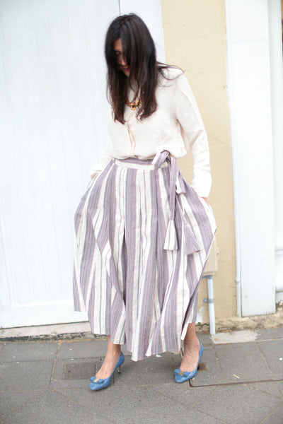 STRIPE PLEAT SKIRT, PURPLE COTTON-SILK - SAAKI
