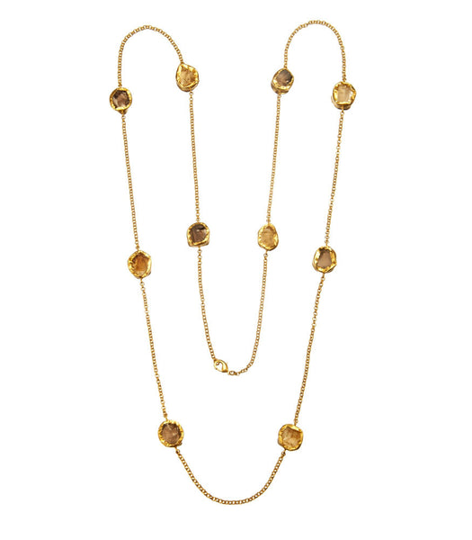 ALTERNATING SMOKY TOPAZ & CITRINE NECKLACE - SAAKI
