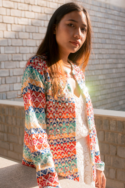 SEQUENCE WOOL SWEATER, RAINBOW SHINE - SAAKI