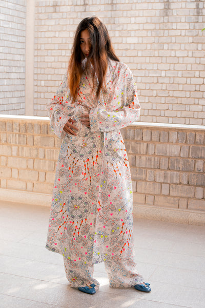 SILK TWILL ROBE & PANT SET, PRINTED MULTICOLOR - SAAKI