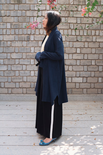 COAT-DRESS, BLACK MERINO WOOL - SAAKI
