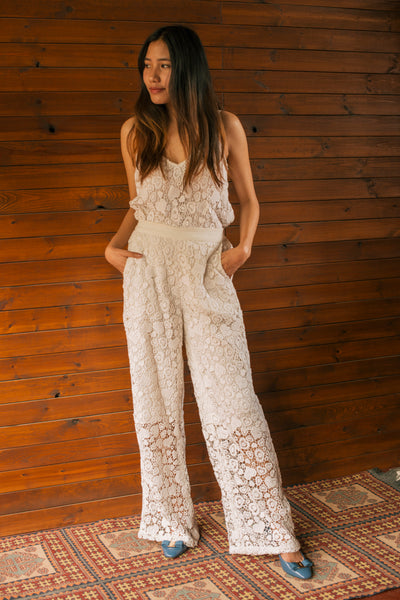 LACE PANTS, WHITE - SAAKI