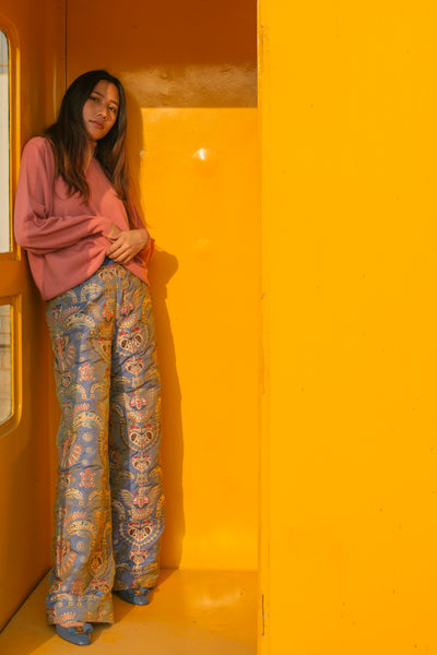 ANIMAL BROCADE PANTS, VIOLET // GOLD - SAAKI