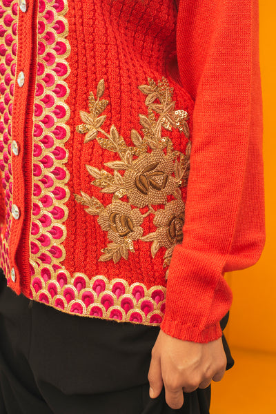 PEACOCK EMBROIDERY SWEATER, PINK // ORANGE - SAAKI