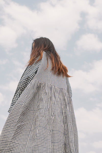 MADRAS CHECK SHIRT DRESS, NAVY - SAAKI