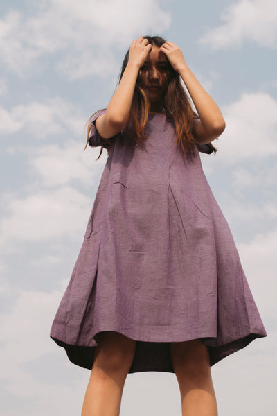 HANDWOVEN A-LINE DRESS, PURPLE // BLUE - SAAKI