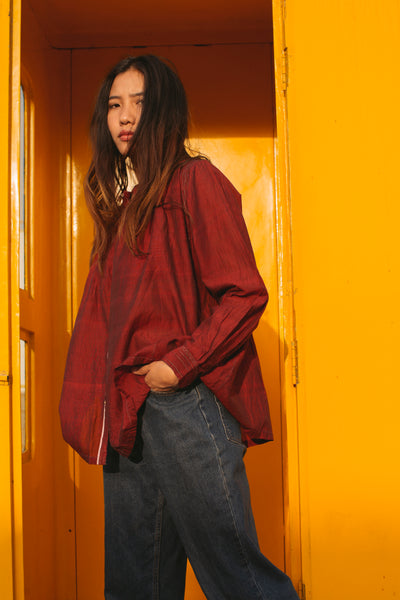 FRONT STRIPE SHIRT, RED - SAAKI